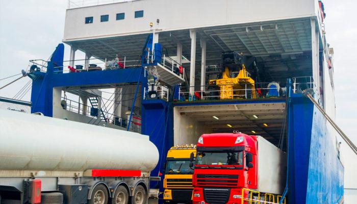 Vehicle carrier ship under loading in port